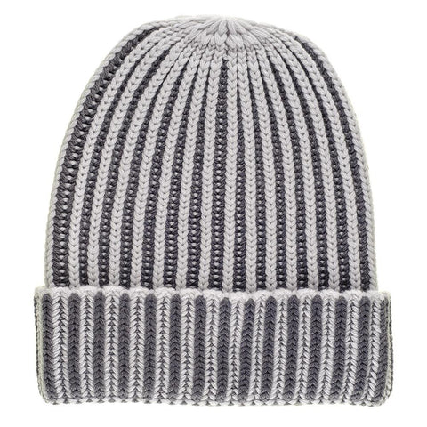 Grey and Ivory Striped Chunky Cashmere Slouch Beanie