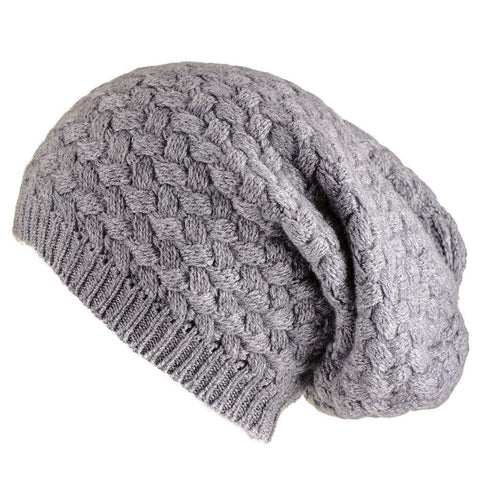 Grey Basketweave Cashmere Slouch Beanie
