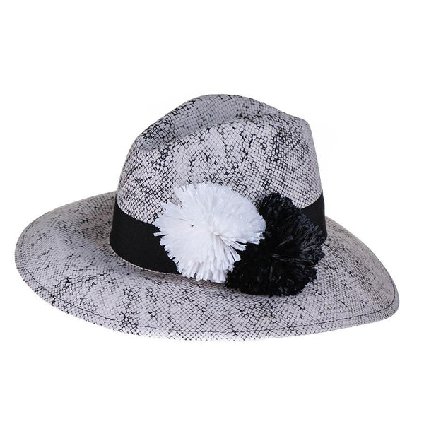 Stonewashed Fedora with Rafia Pom Poms