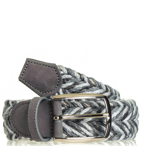 Grey and Taupe Woven Leather and Wool Belt