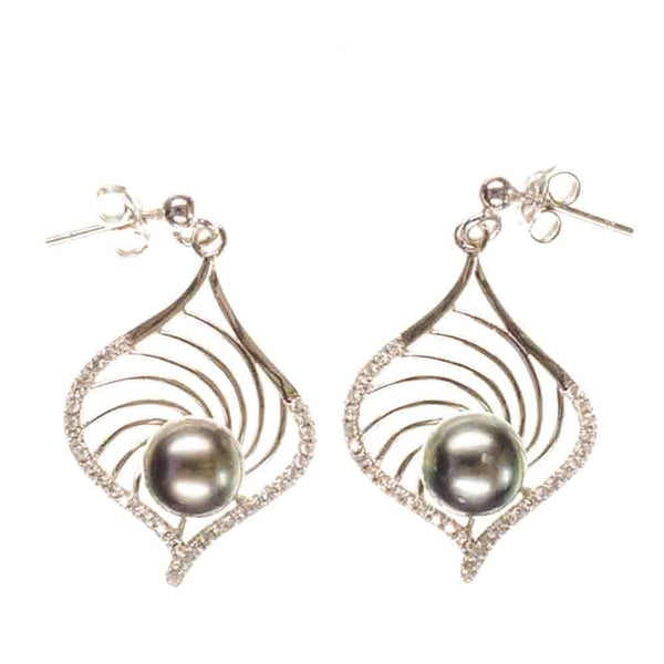 Indira Tahitian Black Pearl and Sterling Silver Earrings