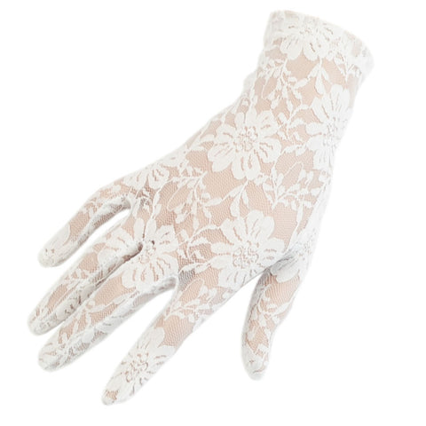 Short Ivory Fine lace Gloves