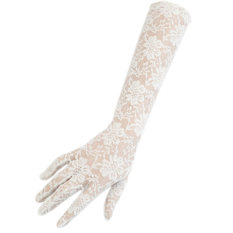 Long Ivory Fine Lace Gloves