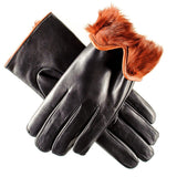 Black and Russet Rabbit Fur Lined Leather Gloves