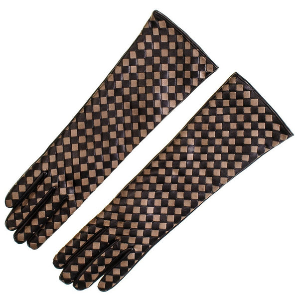 Long Black and Taupe Woven Leather Gloves