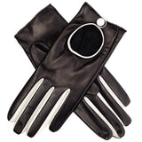 Black and Ivory Leather Driving Gloves
