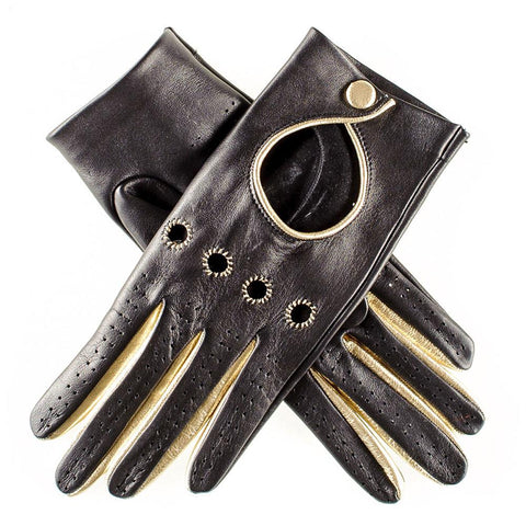 Black and Gold Leather Driving Gloves