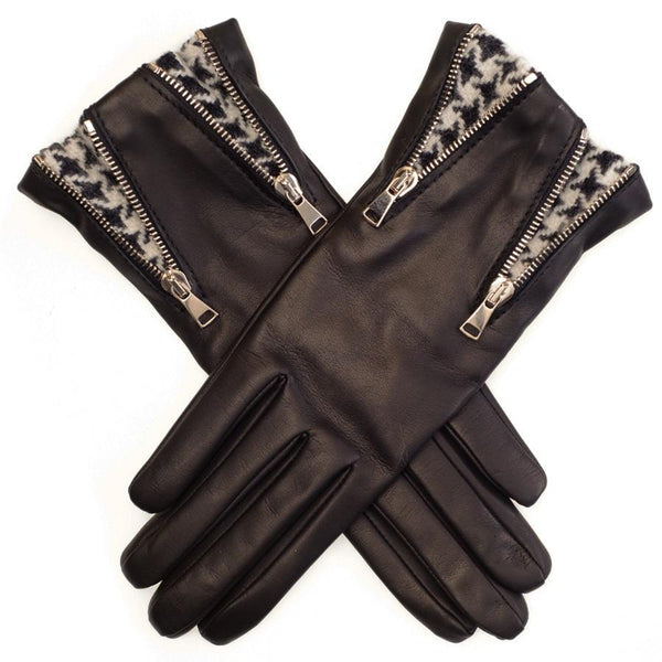 Double Zip and Houndstooth Black Leather Gloves