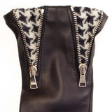 Double Zip and Houndstooth Black Leather Gloves 2