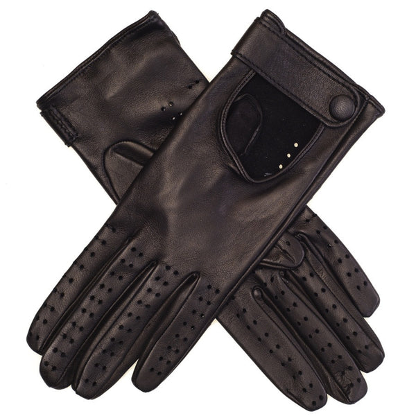 Black Leather Driving Gloves with Strap