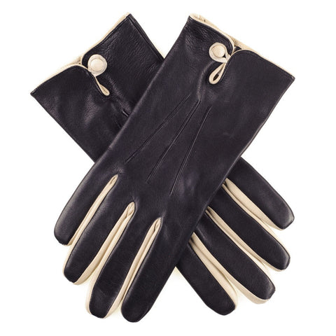 Black and Cream Leather Gloves