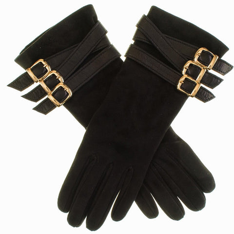 Black Suede Buckled Musketeer Gloves