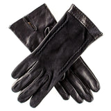 Black Italian Leather and Suede Gloves - Silk Lined