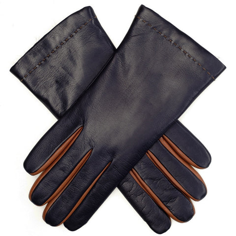 Navy and Tan Rabbit Fur Lined Leather Gloves