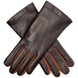 Chocolate Brown and Tan Rabbit Fur Lined Leather Gloves