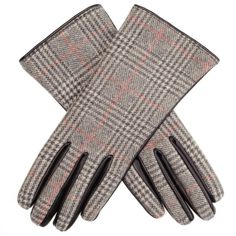 Prince of Wales Check Cashmere and Black Leather Gloves