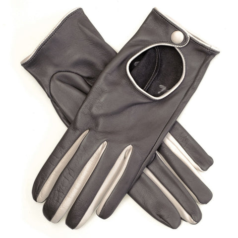 Grey and Ivory Leather Driving Gloves