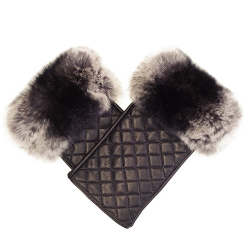 Quilted Black Leather and Fur Wrist Warmers