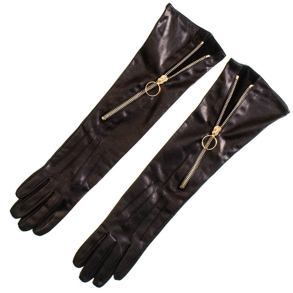 Long Black Leather Gloves with Diagonal Zip