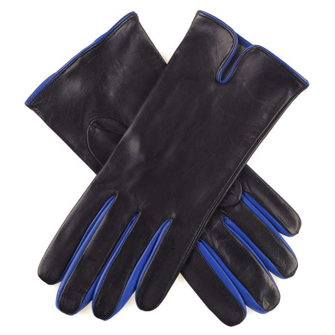 Black and Electric Blue Leather Gloves