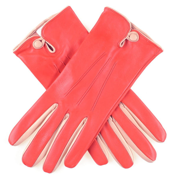 Clementine and Cream Leather Gloves
