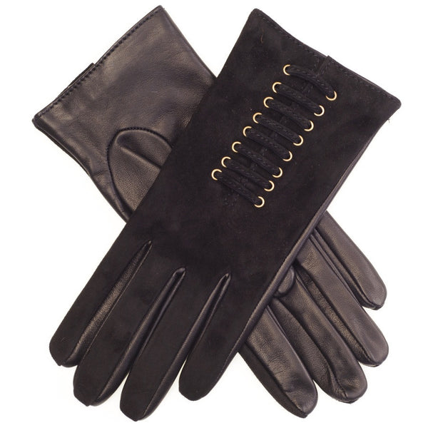 Black Suede and Leather Laced Gloves