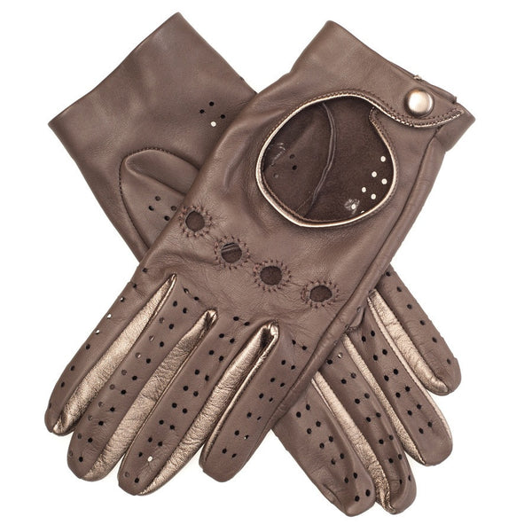 Taupe and Bronze Leather Driving Gloves