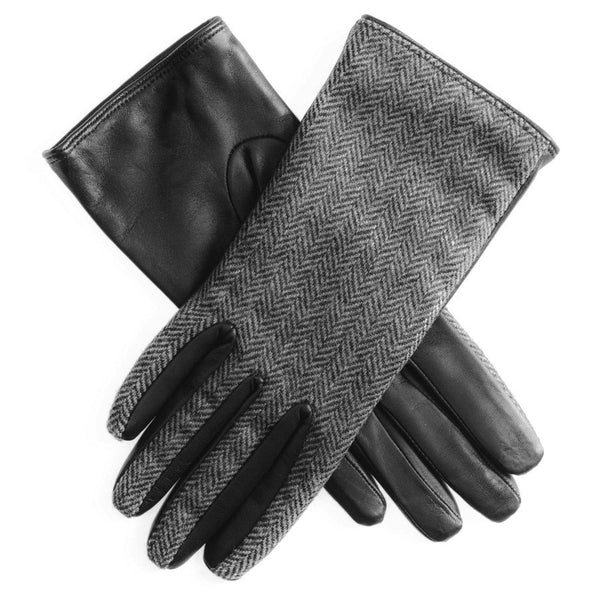 Herringbone Tweed and Leather Gloves- SOLD OUT