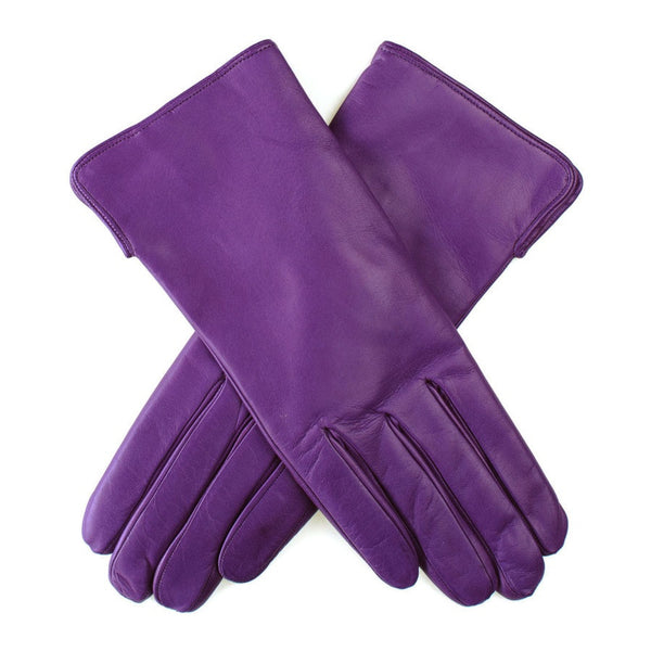 Violet Leather Gloves with Cashmere Lining