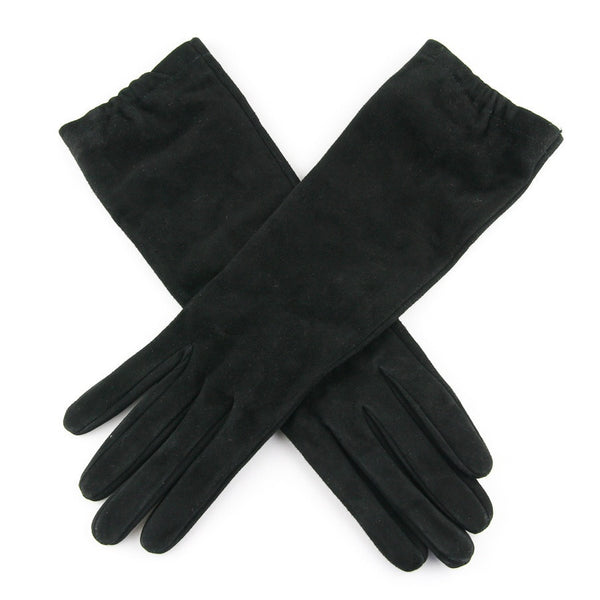 Ladies?ʉÛÓÌö Long Black Italian Suede Gloves ?ʉÛ?ÛÒSilk Lined