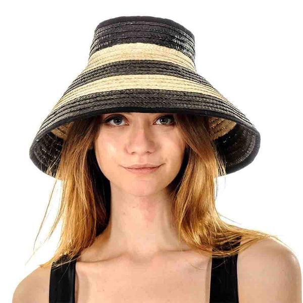 Black and Brown Striped Bow Straw Sun Hat
