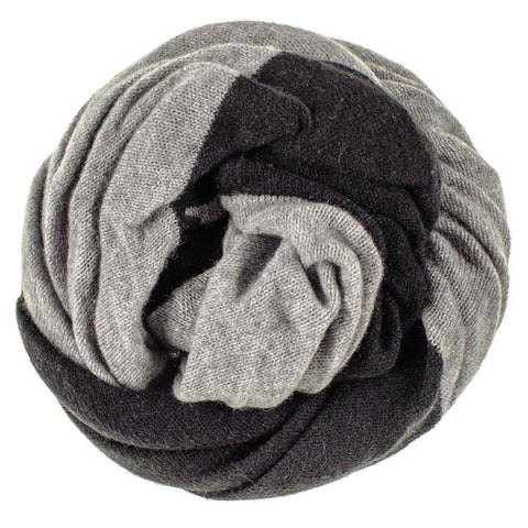 Black and Grey Double Sided Long Cashmere Snood