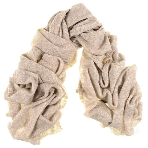 Oversized Honey Beige Cashmere Knit Scarf