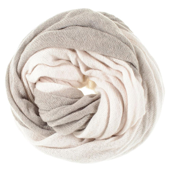 Latte and Chalk Double Sided Long Cashmere Snood