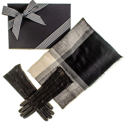 Cashmere Ring Shawl and Musketeer Leather Gloves Gift Set