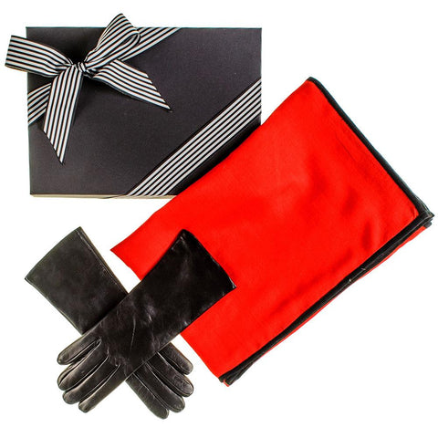Cashmere and Silk Scarf and Cashmere Lined Leather Gloves Gift Set