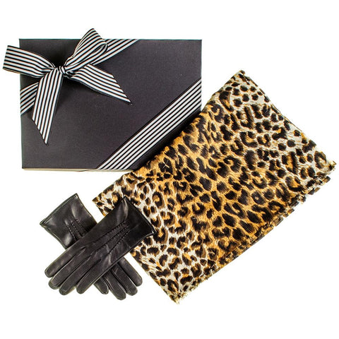 Leopard Print Scarf and Cashmere Lined Leather Gloves Gift Set