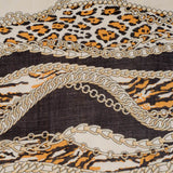 Leopard and Chains Cashmere and Silk Scarf