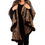 Fur Trimmed Leopard Print Cashmere Ring Shawl