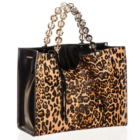 Leopard Print Calf Hair and Black Leather Tote