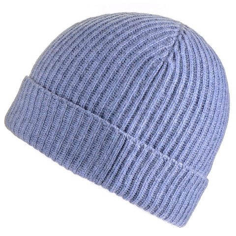 Denim Blue Rib Knit Cashmere Beanie