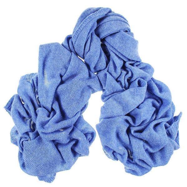 Oversized Cornflower Blue Cashmere Knit Scarf