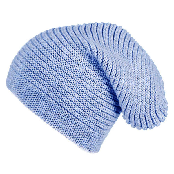 Sky Blue Cashmere Slouch Beanie