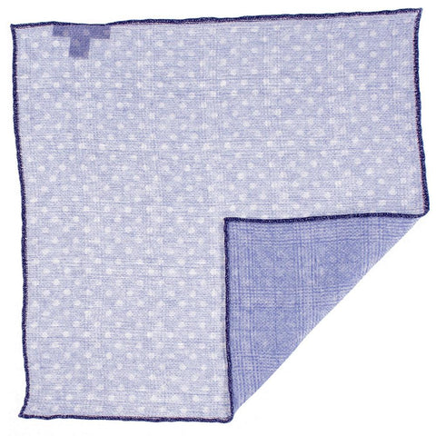 Pale Blue and White Reversible Linen and Cotton Pocket Square