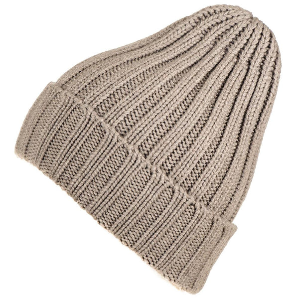 Light Taupe Chunky Rib Knit Cashmere Beanie