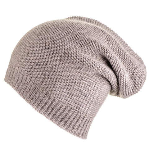 Light Brown Purl Stitch Cashmere Slouch Beanie