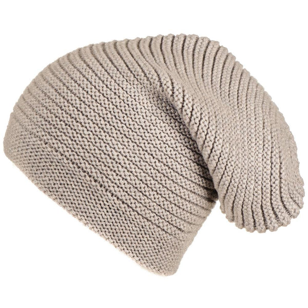Light Taupe Cashmere Slouch Beanie Hat