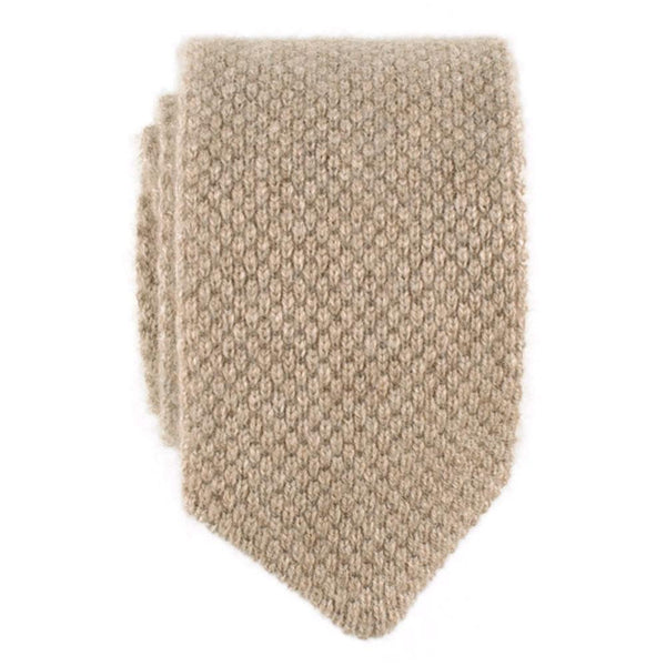 Oatmeal Brown Italian Knitted Cashmere Tie