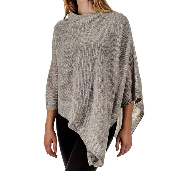 Moss Stitch Grey and Ivory Cashmere Poncho