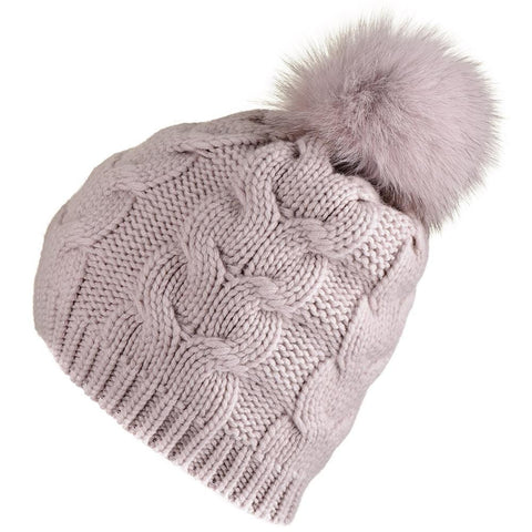 Blush Thick Cable Cashmere Fur Pom Pom Beanie